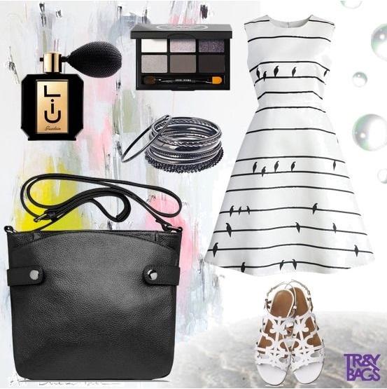 Модный лук с небольшой кожанной сумкой Napoli от Trendybags.ru Артикул: B00670black. Цена сумки: 65$