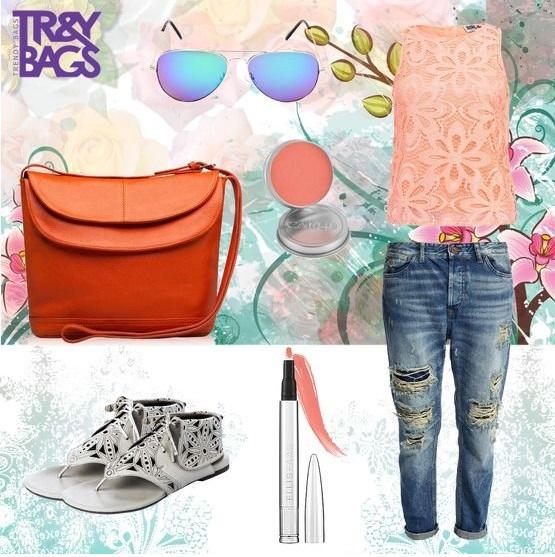 Оранжевая женская сумка через плечо от Trendy Bags, Модель SELESTE Артикул: B00665